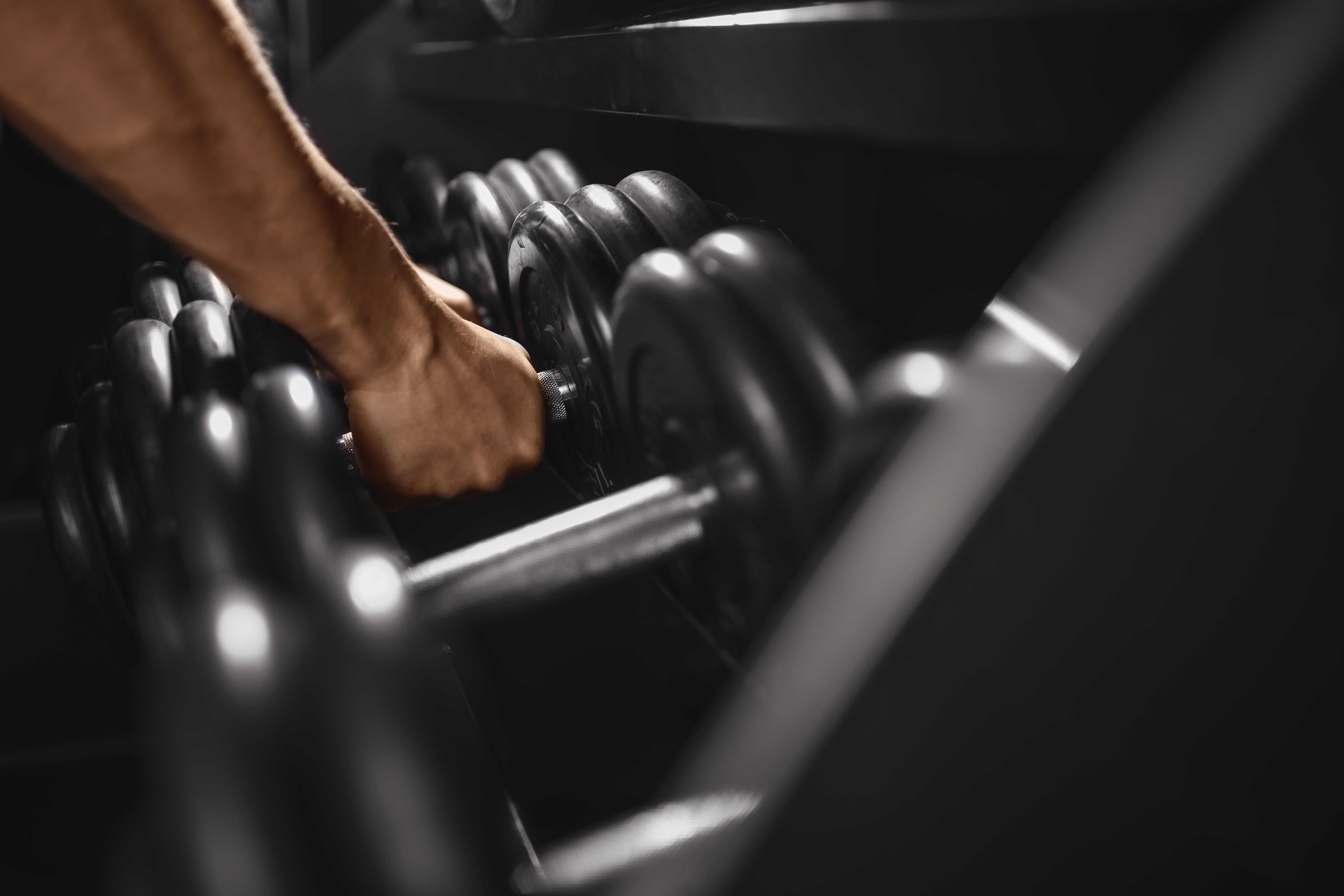 Mann nimmt sich Gewichtshanteln | Dein Personal Trainer Berlin